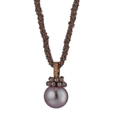 Rendezvous lange kette mit Perlanhänger und naturfarbenen Diamanten