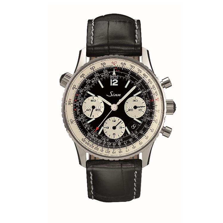 Sinn Navigationschronograph 903 St schwarz mit Lederband Schaltradchronograph