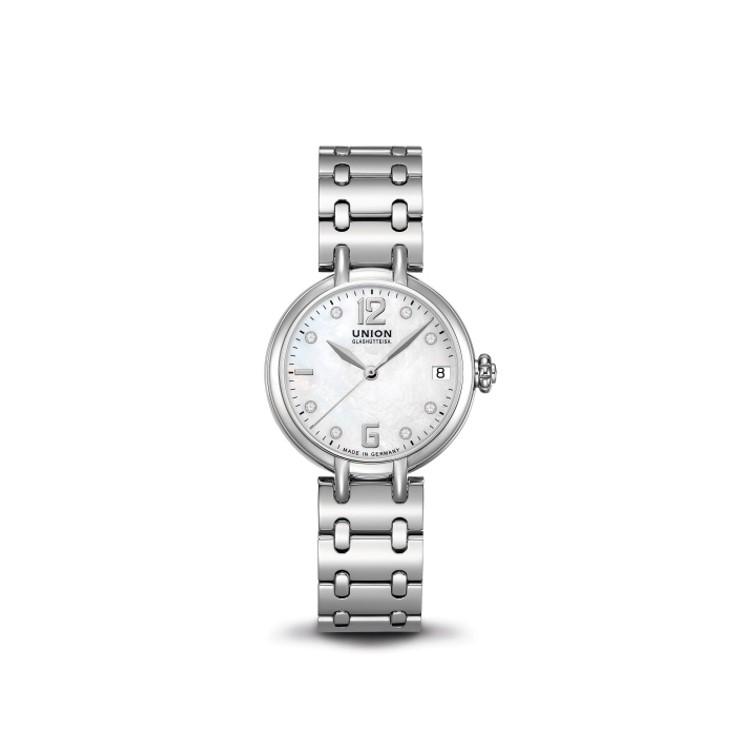 Union Glashütte Sirona Datum Automatikuhr für Damen mit Metallband und Perlmuttzifferblatt