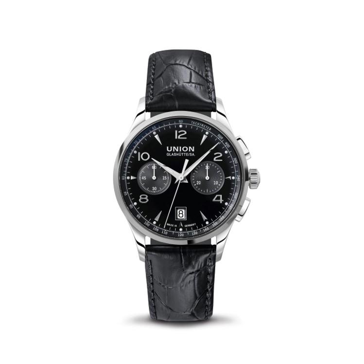 Union Glashütte Noramis Chronograph mit Lederband schwarz