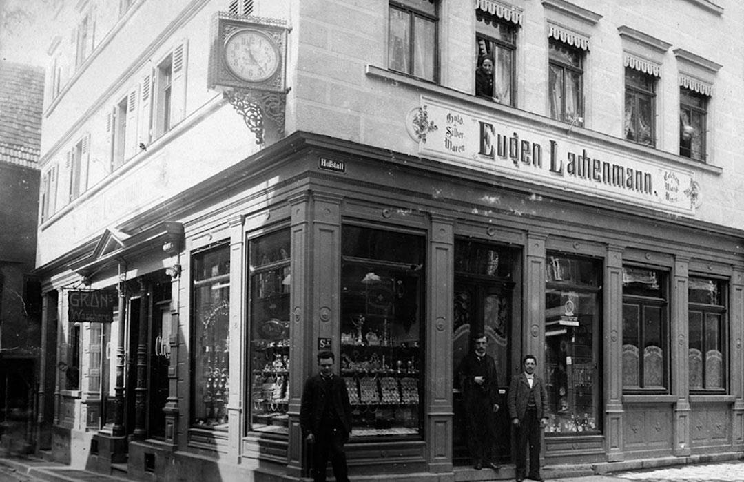 Historische Aufnahme vom Gebäude Juwelier Lachenmann in der Katharinenstraße