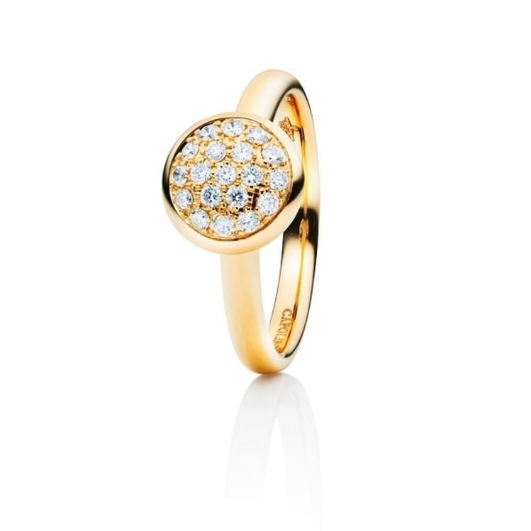 Capolavoro Ring mit Brilanten ausgefasster runder Scheibe in Gelbgold