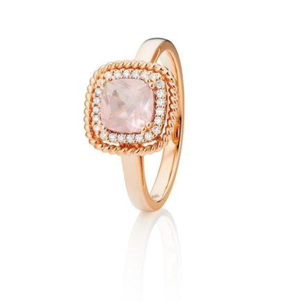Capoalvoro Ring mit eckigem Rosenquarz und Brillanten rundum