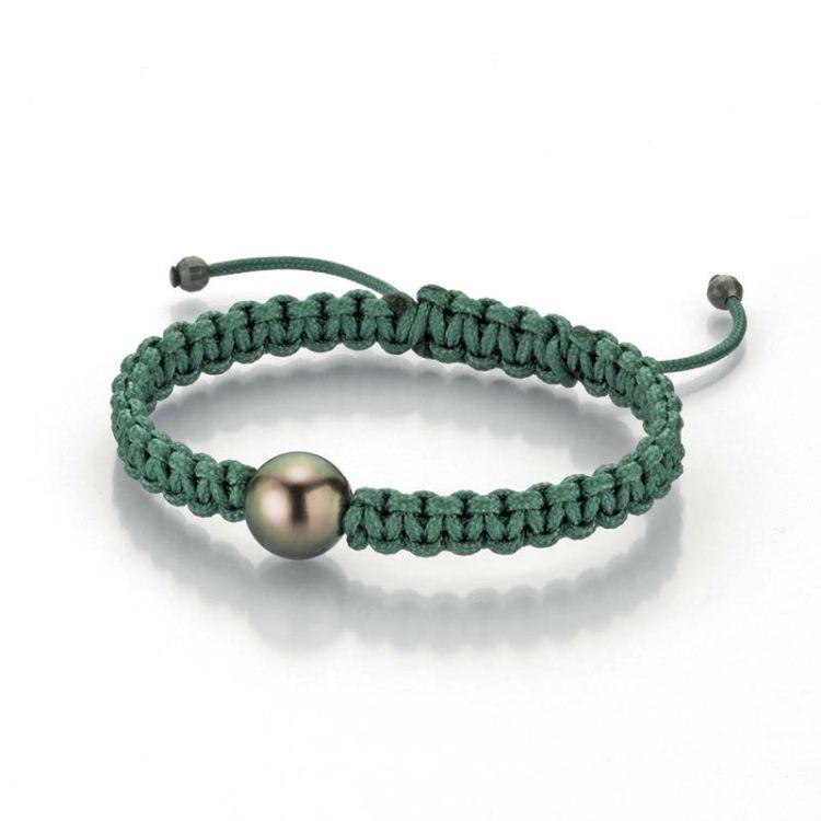 Makrameearmband grün mit Marutea-Zuchtperle