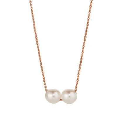 Lachenmann filigranes Collier mit zwei Perlen auf einer Kette