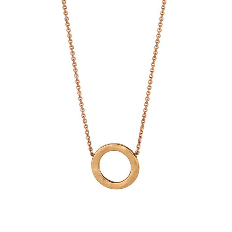 Filigranes Collier mit einem gehämmerten Kreis an feiner Kette