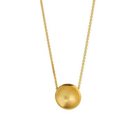 Filigranes Collier mit kleiner gewölbter Scheibe in Gelbgold