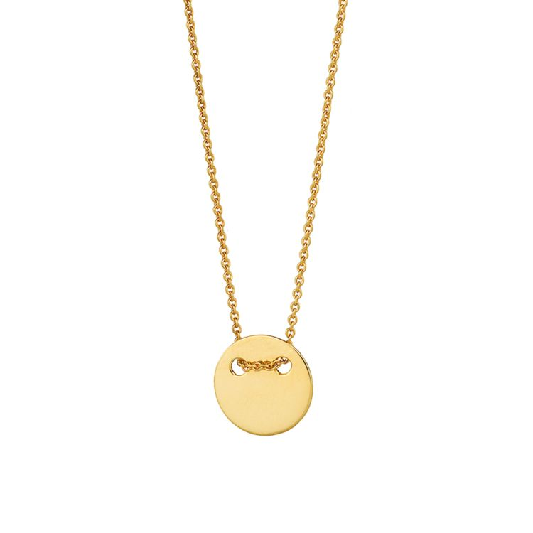 Filigranes Collier mit rundem Plättchen auf eine feine Kette aufgefädelt