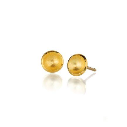 Ohrstecker mit kleinen gewölbten Scheiben in Gelbgold