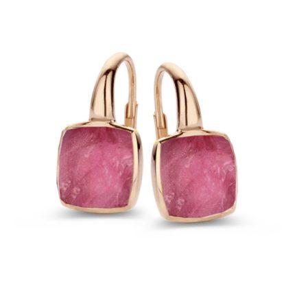 Ohrhänger mit Pink Farbstein quadratisch
