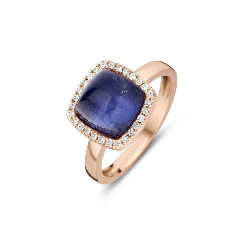 Ring mit blauem Farbstein quadratisch
