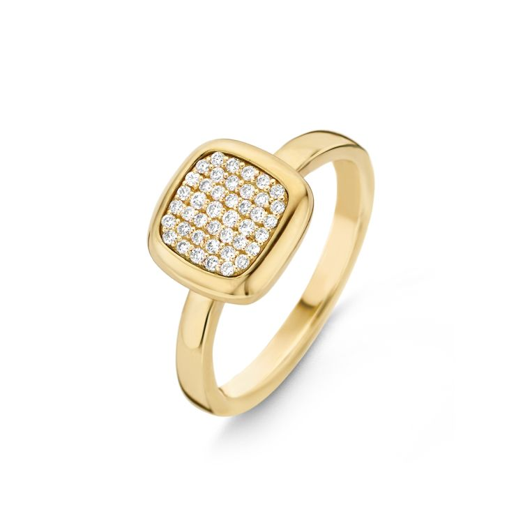 Ring mit Brillanten ausgefasst quadratische Form
