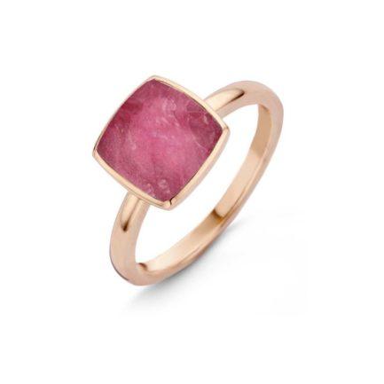 Ring mit Farbstein in Pink quadratisch