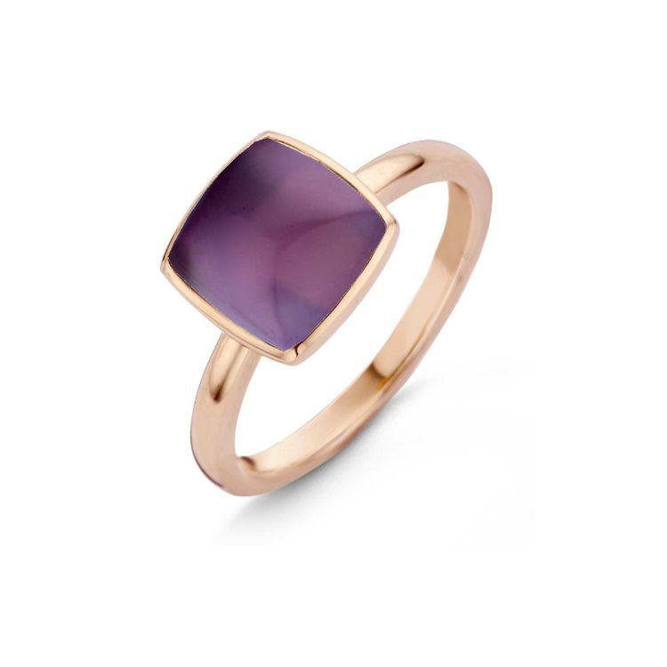Ring mit violettem Farbstein Amethyst quadratisch