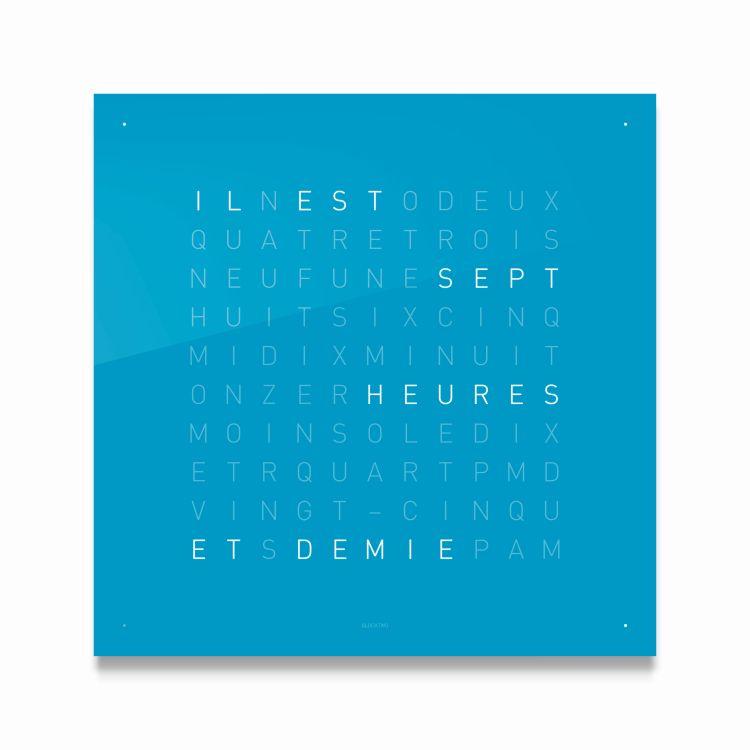 Blaue Wanduhr Quadratisch mit Worten