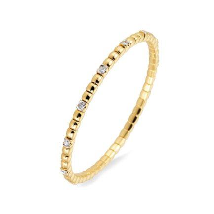 Elastisches Armband mit 13 Brillanten in Gelbgold