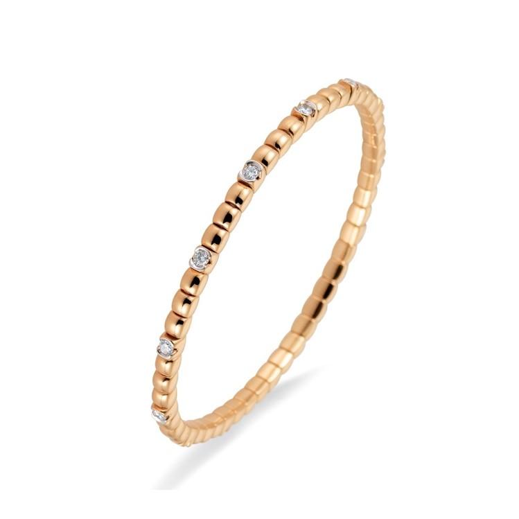 Elastisches Armband mit 13 Brillanten in Roségold