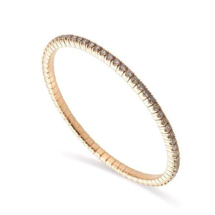 Elastisches Armband rundum mit Brillanten besetzt in Gelbgold