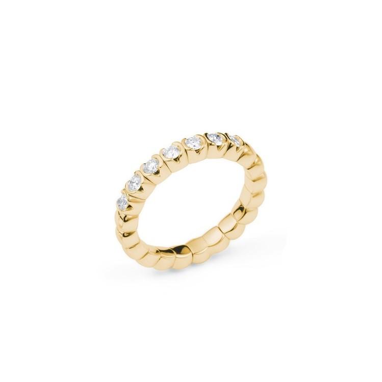 Elastischer Ring mit 7 Brillanten in Gelbgold