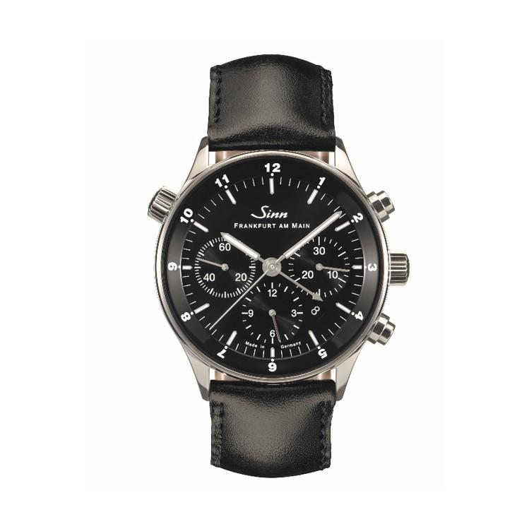 Sinn Finanzplatzuhr Chronograph mit schwarzem Zifferblatt und Lederband
