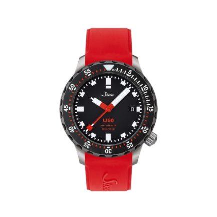 Sinn Taschenuhr U50SDR mit rotem Silikonarmband