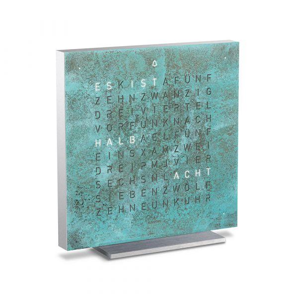 Tischuhr quadratisch patiniertes Kupfer grün
