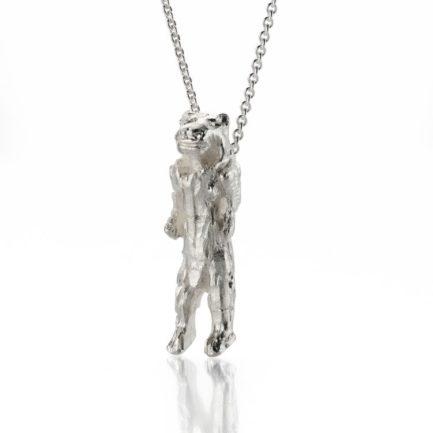 Eiszeitkunst Fund Löwenmensch asl Anhänger an einer Kette in Silber