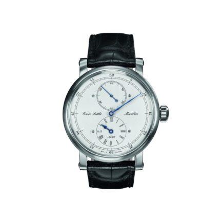 Armbanduhr mit Regulatorzifferblatt und schwarzem Lederband