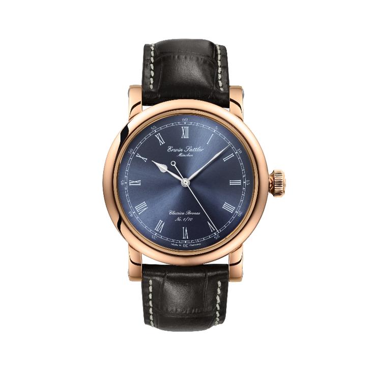Armbanduhr Bronzegehäuse und blaues Zifferblatt